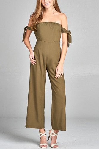 Ladies fashion tube line w/self bow tie sleeve woven jumpsuit-id.CC34712b