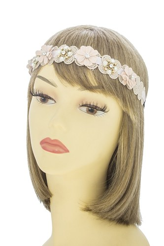 Matte lacey flower accent headband-id.CC34715