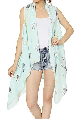 Graphic print cover up vest-id.CC34726