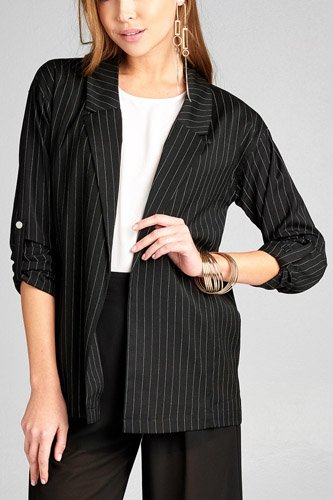 Ladies fashion 3/4 roll up sleeve w/snap button open front w/collar print stripe blazer-id.CC34745