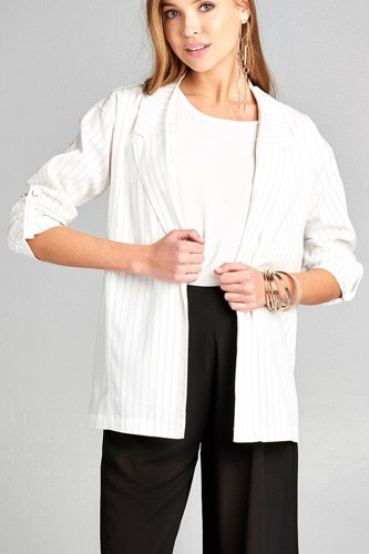 Ladies fashion 3/4 roll up sleeve w/snap button open front w/collar print stripe blazer-id.CC34745a