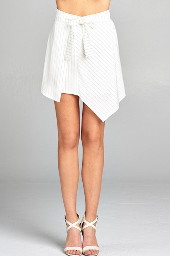 Ladies fashion waist bow tie asymmetrical pinstripe skirt-id.CC34747a