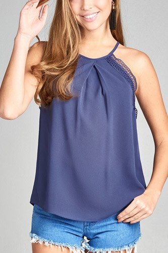Ladies fashion round halter neck w/lace detail cami crepe woven top-id.CC34749b