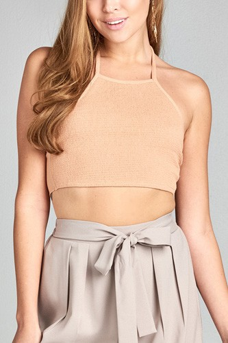 Ladies fashion round halter neck smocked fabric waist ribbon tie crop crinkle gauze woven top-id.CC34763