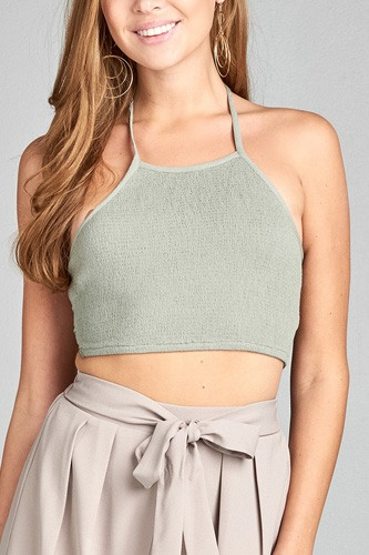 Ladies fashion round halter neck smocked fabric waist ribbon tie crop crinkle gauze woven top-id.CC34763b