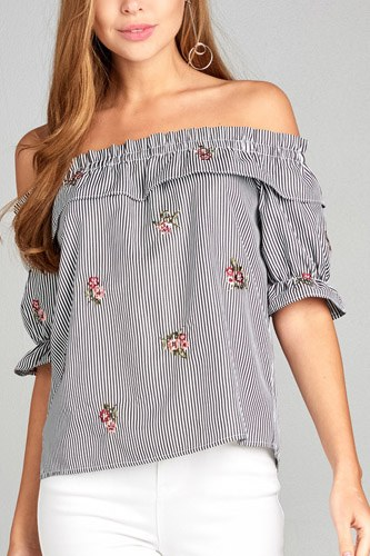 Ladies fashion short sleeve off the shoulder w/ruffle embo stripe woven top-id.CC34814a