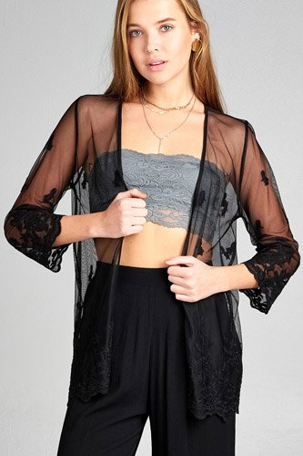 Ladies fashion open front scalloped hem lace cardigan-id.CC34836