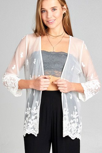 Ladies fashion open front scalloped hem lace cardigan-id.CC34836a
