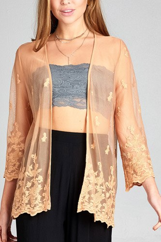 Ladies fashion open front scalloped hem lace cardigan-id.CC34836b