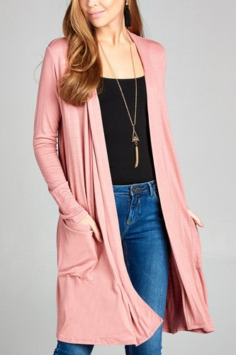 Ladies fashion long sleeve open front w/pocket long length rayon spandex cardigan-id.CC34870