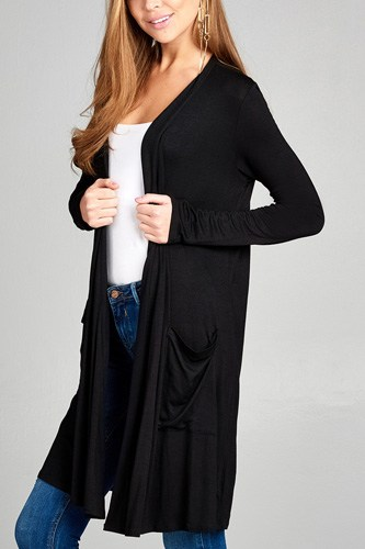 Ladies fashion long sleeve open front w/pocket long length rayon spandex cardigan-id.CC34870a