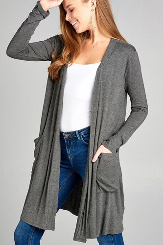 Ladies fashion long sleeve open front w/pocket long length rayon spandex cardigan-id.CC34870b