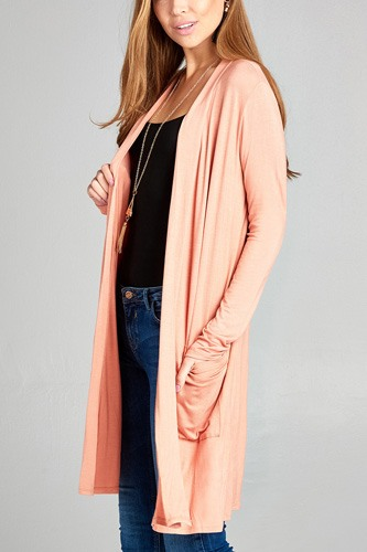 Ladies fashion long sleeve open front w/pocket long length rayon spandex cardigan-id.CC34870c