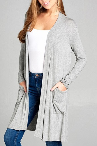 Ladies fashion long sleeve open front w/pocket long length rayon spandex cardigan-id.CC34870d