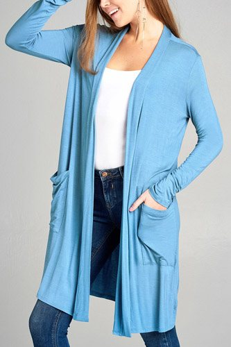 Ladies fashion long sleeve open front w/pocket long length rayon spandex cardigan-id.CC34870e