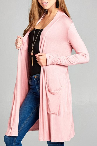 Ladies fashion long sleeve open front w/pocket long length rayon spandex cardigan-id.CC34870f