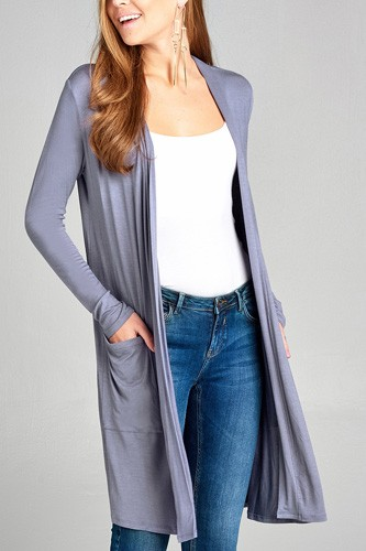 Ladies fashion long sleeve open front w/pocket long length rayon spandex cardigan-id.CC34870g