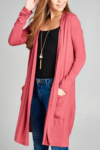 Ladies fashion long sleeve open front w/pocket long length rayon spandex cardigan-id.CC34870j