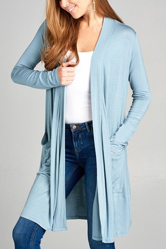 Ladies fashion long sleeve open front w/pocket long length rayon spandex cardigan-id.CC34870k