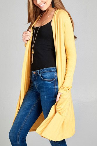 Ladies fashion long sleeve open front w/pocket long length rayon spandex cardigan-id.CC34870l