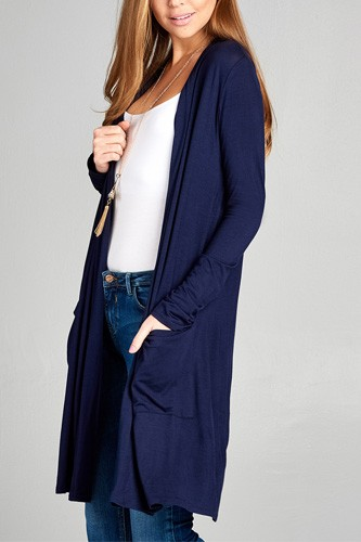 Ladies fashion long sleeve open front w/pocket long length rayon spandex cardigan-id.CC34870m