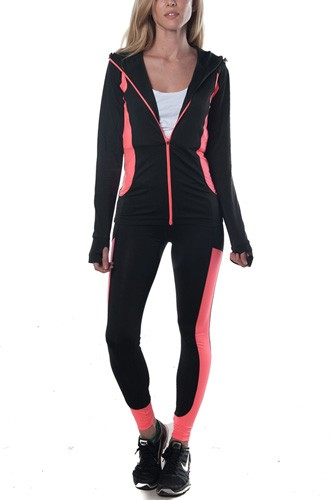 Ladies fashion active 2 pc set hooded outfit-id.CC34874