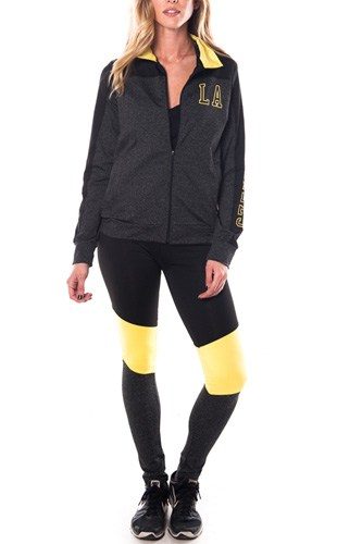 Ladies fashion los angeles logo active sport yoga / zumba 2 pc set zip up jacket & leggings outfit-id.CC34876a