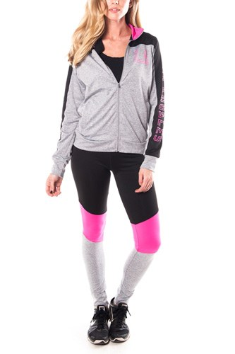 Ladies fashion los angeles logo active sport yoga / zumba 2 pc set zip up jacket & leggings outfit-id.CC34876b