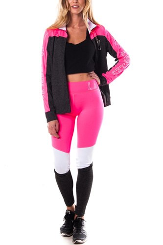 Ladies fashion los angeles logo active sport yoga / zumba 2 pc set zip up jacket & leggings outfit-id.CC34876c