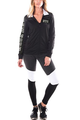 Ladies fashion new york logo active sport yoga / zumba 2 pc set zip up jacket & leggings outfit-id.CC34876d