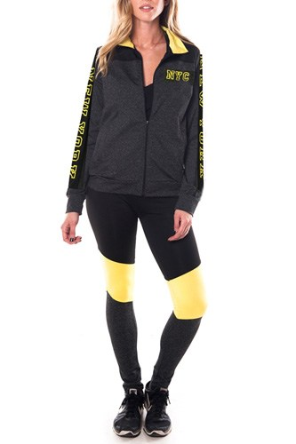Ladies fashion new york logo active sport yoga / zumba 2 pc set zip up jacket & leggings outfit-id.CC34876e
