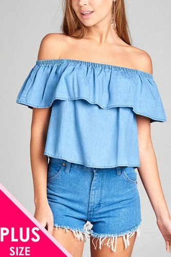 Ladies fashion plus size off the shoulder chambray ruffle top-id.CC34879
