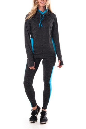 Ladies fashion plus size active sport yoga / zumba 2 pcs set with pull over jacket & leggings outfit-id.CC34883a