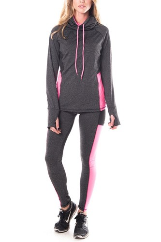 Ladies fashion plus size active sport yoga / zumba 2 pcs set with pull over jacket & leggings outfit-id.CC34883b
