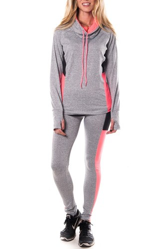 Ladies fashion plus size active sport yoga / zumba 2 pcs set with pull over jacket & leggings outfit-id.CC34883c