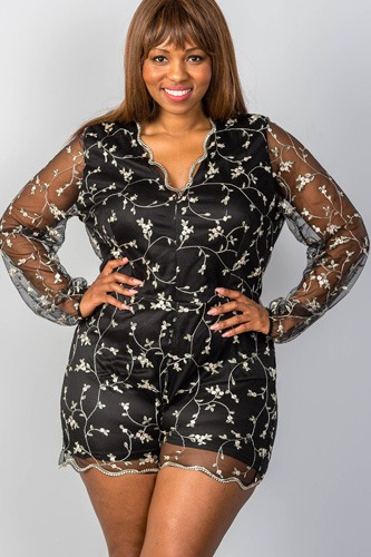 Ladies fashion plus size sheer mesh floral embroidered romper-id.CC34896