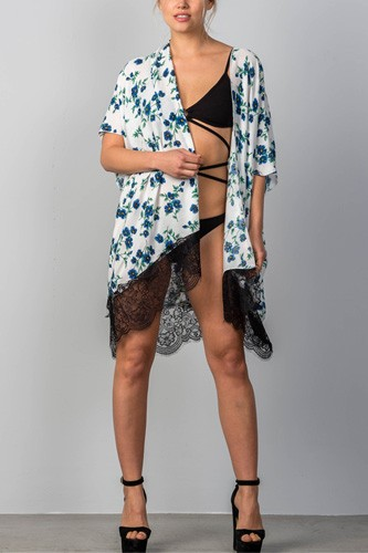 Ladies fashion floral leaf print contrast lace hem cover-up kimono-id.CC34913