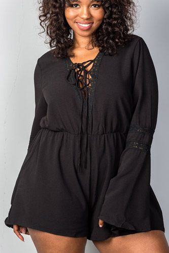 Ladies fashion plus size plunging v-neck plus size romper-id.CC34928