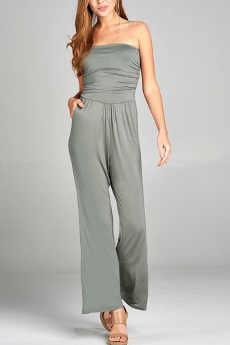 Ladies fashion tube top long wide leg rayon spandex jumpsuit -id.CC34931a