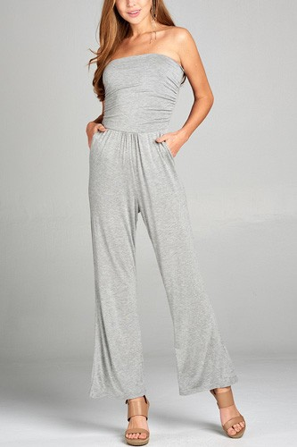 Ladies fashion tube top long wide leg rayon spandex jumpsuit -id.CC34931c