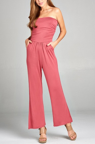 Ladies fashion tube top long wide leg rayon spandex jumpsuit -id.CC34931e