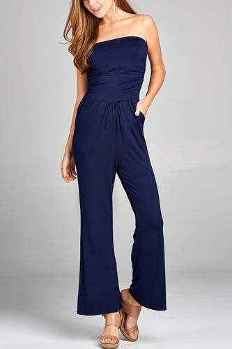 Ladies fashion tube top long wide leg rayon spandex jumpsuit -id.CC34931f
