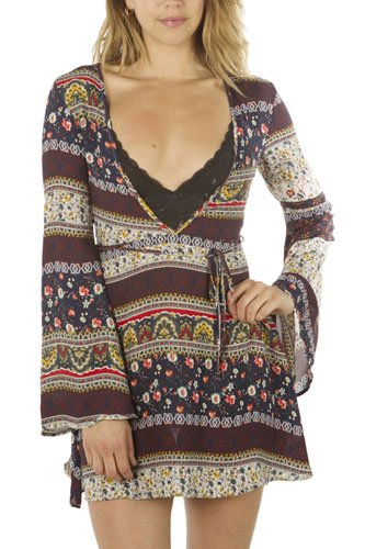 Ladies fashion deep v neck casual floral print mini dress, zip up, flare sleeve-id.CC34938