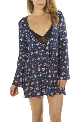 Ladies fashion  deep v neck casual floral print mini dress, zip up, flare sleeve-id.CC34939a