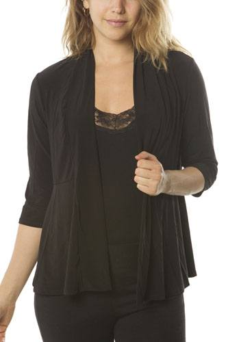 Ladies fashion  petite 3/4 sleeve open front cardigan-id.CC34943