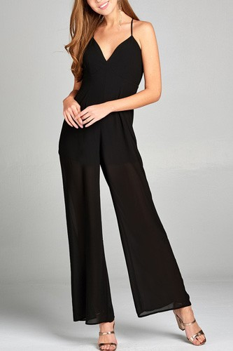 Ladies fashion plunging v-neck w/cami strap woven jumpsuit-id.CC34945