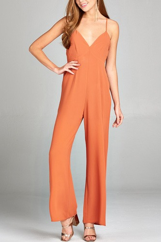 Ladies fashion plunging v-neck w/cami strap woven jumpsuit-id.CC34945b