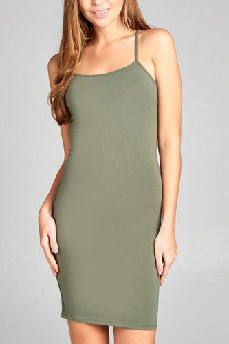 Ladies fashion low-cut scoop neckline back open w/strappy cotton spandex mini dress-id.CC34946a