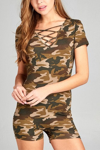 Ladies fashion short sleeve v-neck w/cross strap bodycon camo print cotton spandex romper-id.CC34947