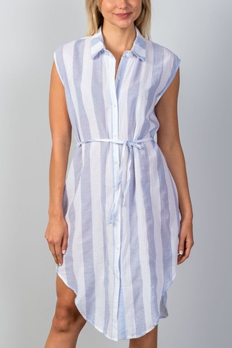 Ladies fashion blue & white stripe shirt midi dress-id.CC34955